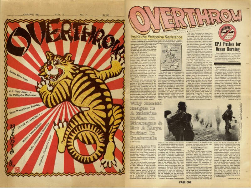 Cover and inside page from alternative publication Overthrow