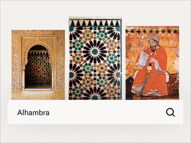 Architectural details and art from the Alhambra palace